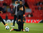 Philippe Courtinho of Liverpool holds his back as he stretches during the Champions League Group E match at the Anfield Stadium, Liverpool. Picture date 13th September 2017. Picture credit should read: Simon Bellis/Sportimage