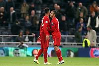 Bayern players celebrate the victory after Tottenham Hotspur vs FC Bayern Munich, UEFA Champions League Football at Tottenham Hotspur Stadium on 1st October 2019