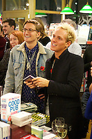 Oliver Proudlock and Jamie Laing listen to Francis Boulle's speech at Boulle's Jewels book launch