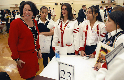 Washington, DC - (FILE) -- Judge Sonia Sotomayor visits students at her alma mater, Cardinal Spellman High School, in New York in a photo released by the White House on Tuesday, May 26, 2009.Credit: White House via CNP