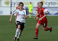 20180302 - LARNACA , CYPRUS : Austrian Laura Feiersinger pictured with Czech Jana Sedlackova (r) during a women's soccer game between Austria and Czech Republic , on friday 2 March 2018 at the AEK Arena in Larnaca , Cyprus . This is the second game in group B for Austria and Czech Republic during the Cyprus Womens Cup , a prestigious women soccer tournament as a preparation on the World Cup 2019 qualification duels. PHOTO SPORTPIX.BE | DAVID CATRY