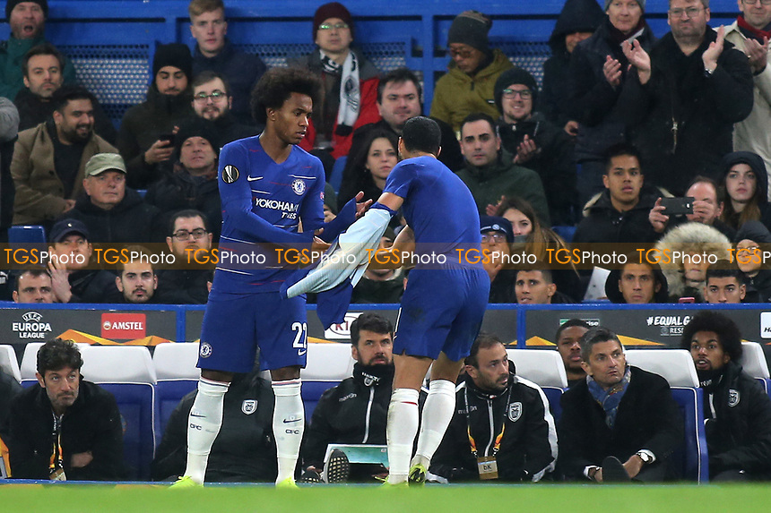 Pedro of Chelsea takes off his shirt as he is replaced by Willian in the second half during Chelsea vs PAOK Salonika, UEFA Europa League Football at Stamford Bridge on 29th November 2018