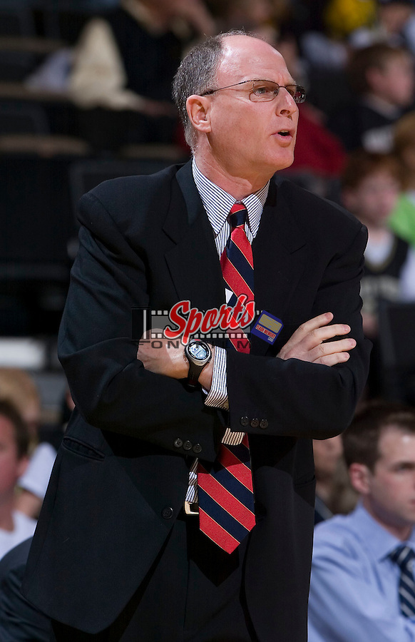 Radford Highlanders head coach Brad Greenberg watches his team during first half action versus the Wake Forest Demon Deacons at the LJVM Coliseum December 30, 2008 in Winston-Salem, NC.  The Demon Deacons defeated the Highlanders 83-61. (Photo by Brian Westerholt / Sports On Film)