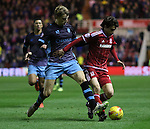 Glenn Loovens of Sheffield Wednesday challenging Diego Fabbrini of Middlesbrough - Sky Bet Championship - Middlesbrough vs Sheffield Wednesday - Riverside Stadium - Middlesbrough - England - 28th of December 2015 - Picture Jamie Tyerman/Sportimage