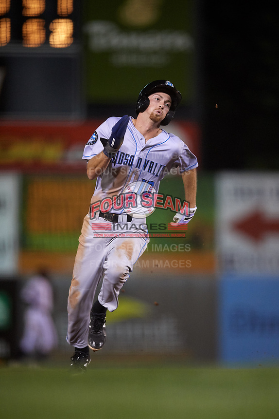 Hudson Valley Renegades designated hitter Tanner Dodson (10) runs the bases during a game against the Connecticut Tigers on August 20, 2018 at Dodd Stadium in Norwich, Connecticut.  Hudson Valley defeated Connecticut 3-1.  (Mike Janes/Four Seam Images)