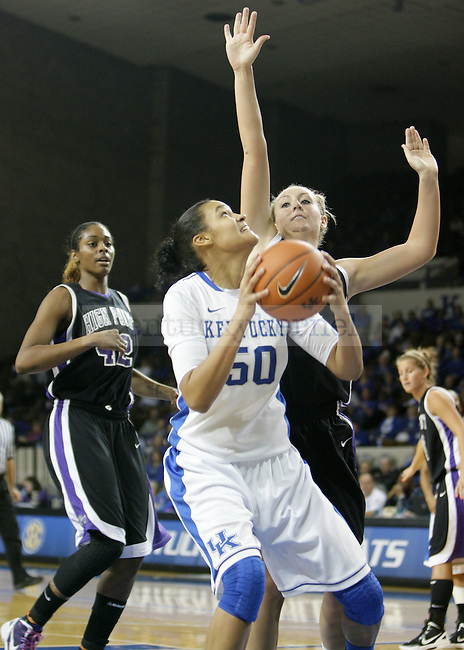 Sophomore Azia Bishop rebounds and goes up with a shot at the Women's Basketball game at Memorial Coliseum in Lexington, Ky., on Saturday, November. 17, 2012..