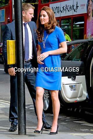 "CATHERINE, DUCHESS OF CAMBRIDGE .displaying a slightly fuller figure in a blue dress, visited the National Portrait Gallery's Road to 2012: Aiming High Exhibition, London_19/07/2012.Mandatory credit photo: ©Dias/DIASIMAGES..(Failure to credit will incur a surcharge of 100% of reproduction fees)..                **ALL FEES PAYABLE TO: ""NEWSPIX INTERNATIONAL""**..IMMEDIATE CONFIRMATION OF USAGE REQUIRED:.DiasImages, 31a Chinnery Hill, Bishop's Stortford, ENGLAND CM23 3PS.Tel:+441279 324672  ; Fax: +441279656877.Mobile:  07775681153.e-mail: info@newspixinternational.co.uk"