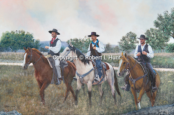 "Three cowboys riding on horseback to town on Saturday night, headed for the dance hall. Oil on canvas, 20"" x 30""."