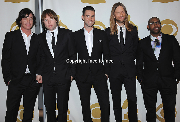 LOS ANGELES, CA - JANUARY 27:  Maroon 5 arrives at &quot;The Night That Changed America: A Grammy Salute to The Beatles&quot; at the Los Angeles Convention Center West Hall on January 27, 2014 in Los Angeles, California. <br /> Credit: MediaPunch/face to face<br /> - Germany, Austria, Switzerland, Eastern Europe, Australia, UK, USA, Taiwan, Singapore, China, Malaysia, Thailand, Sweden, Estonia, Latvia and Lithuania rights only -