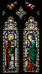 Jesus and Mary Magdalene stained glass window, Claydon church, Suffolk, England, UK c 1867 by Lavers, Barraud and Westlake