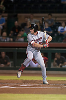 Salt River Rafters right fielder Luke Raley (53), of the Minnesota Twins organization, at bat during an Arizona Fall League game against the Scottsdale Scorpions at Scottsdale Stadium on October 12, 2018 in Scottsdale, Arizona. Scottsdale defeated Salt River 6-2. (Zachary Lucy/Four Seam Images)