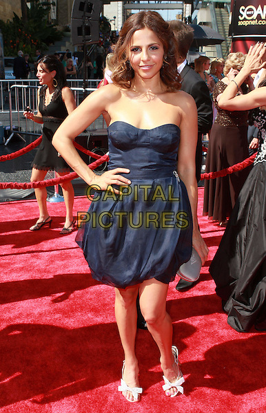 AZITA GHANIZADA.35th Annual Daytime Emmy Awards held at the Kodak Theatre, Hollywood, California, USA,.20 June 2008..full length strapless dress hand on hip blue .CAP/ADM/CH.©Charles Harris/Admedia/Capital PIctures