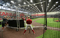 NWA Democrat-Gazette/ANDY SHUPE<br /> Arkansas players take batting practice Friday, June 7, 2019, during practice in The Fowler Family Baseball and Track Training Center ahead of today's NCAA Super Regional game at Baum-Walker Stadium in Fayetteville. Visit nwadg.com/photos to see more photographs from the practices.