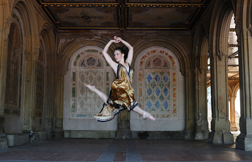 Gregory Holmgren, Dance, movement project, model, dancer Allison Jones at Bethesda Terrace, Central Park, New York, New York, September 14, 2012