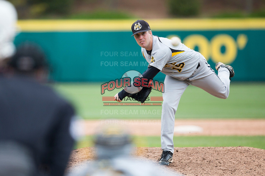 Aaron LaBrie #19 of the Wichita State Shockers delivers a pitch during a game against the Missouri State Bears at Hammons Field on May 5, 2013 in Springfield, Missouri. (David Welker/Four Seam Images)