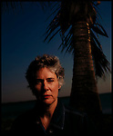 Mystery novel writer Nevada Barr poses for the camera at sunset, Key Biscayne, Florida.