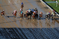 LOUISVILLE, KY - MAY 06: The field passes the grandstand for the first time during the Kentucky Derby on Kentucky Derby Day at Churchill Downs on May 6, 2017 in Louisville, Kentucky. Always Dreaming #5, ridden by John Velazquez, won the race.(Photo by Jon Durr/Eclipse Sportswire/Getty Images)
