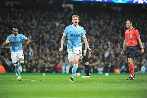 12.04.2016. manchester, England. UEFA Champions league, quarterfinals, second leg. Manchester City versus Paris St Germain.  Kevin De Bruyne (man)  celebrates his goal