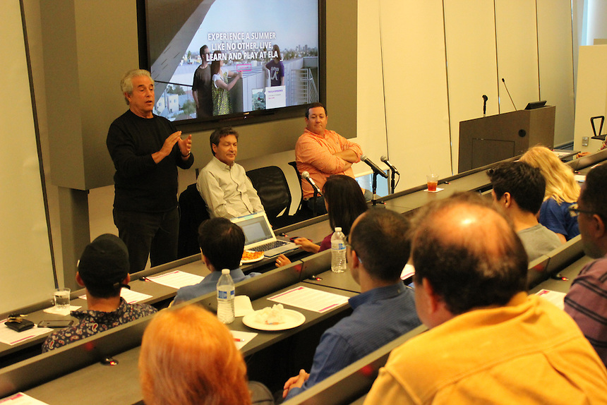 Michael Jay Solomon '60, Jules Haimovitz, and Jonathan Cody speak about content distribution in the Vin Di Bona Distance Learning Room at Emerson Los Angeles on April 20.