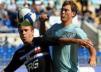 """antonio cassano e lichtsteiner<br /> Roma 14/9/2008 Stadio """"Olimpico"""" <br /> Campionato Italiano di Calcio Serie A 2008/2009<br /> Lazio Sampdoria<br /> Foto Andrea Staccioli Insidefoto"""
