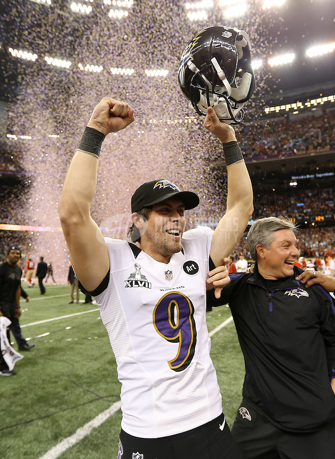 Feb 3, 2013; New Orleans, LA, USA; Baltimore Ravens kicker Justin Tucker (9) celebrates after defeating the San Francisco 49ers in Super Bowl XLVII at the Mercedes-Benz Superdome. Mandatory Credit: Mark J. Rebilas-