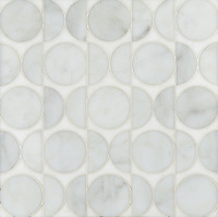 Rita, a stone water jet mosaic, shown in Thassos and Calacatta Tia, is part of the Ann Sacks Beau Monde collection sold exclusively at www.annsacks.com