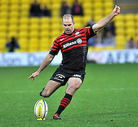Watford, England. Charlie Hodgson of Saracens in action during the Aviva Premiership match between Saracens and at Gloucester Rugby at Vicarage Road on December 2, 2012 in Watford, England..