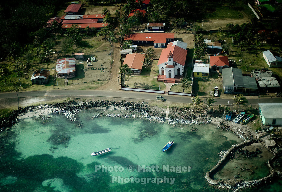 A church on Big Corn Island can be seen from the window of a small commuter plane taking off for Bluefields, Nicaragua. The 15 minute plane ride on Nicaragua's La Costeña Airlines costs $98 roundtrip. Flying from Managua to the Corn Islands will cost $164.