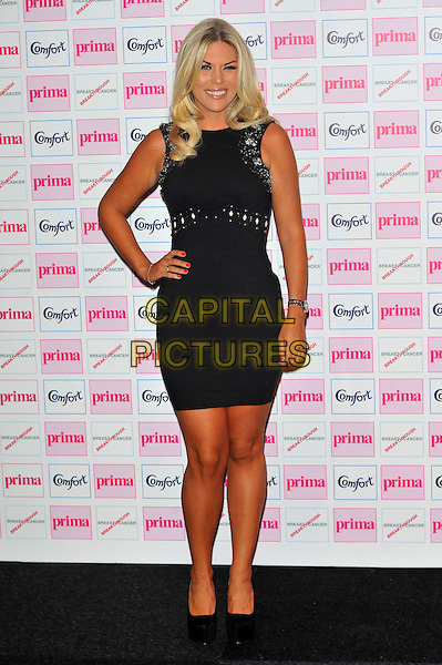 Frankie Essex.Comfort Prima High Street Fashion Awards held at the Battersea Evolution, Battersea, London, England..September 13th 2012.full length dress black hand on hip sleeveless embellished jewel encrusted .CAP/CJ.©Chris Joseph/Capital Pictures.