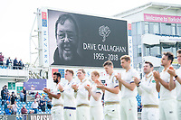 Picture by Allan McKenzie/SWpix.com - 20/04/2018 - Cricket - Specsavers County Championship - Yorkshire County Cricket Club v Nottinghamshire County Cricket Club - Emerald Headingley Stadium, Leeds, England - Yorkshire and Nottinghamshire players stand for a minutes applause in memory of Dave Callaghan.