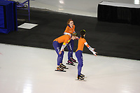 SPEEDSKATING: CALGARY: Olympic Oval, 02-12-2017, ISU World Cup, Team Pursuit Ladies, Antoinette de Jong (NED), ©Lotte van Beek (NED), Marrit Leenstra (NED), photo Martin de Jong
