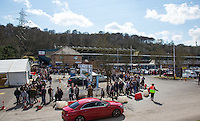 A Huge Crowd awaits outside the Stadium during The Impractical Jokers (Hit US TV Comedy) filming at Wycombe Wanderers FC at Adams Park, High Wycombe, England on 5 April 2016. Photo by Andy Rowland.