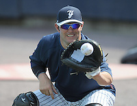 Catcher P.J. Pilittere (44) of the Scranton/Wilkes-Barre Yankees, International League affiliate of the New York Yankees, prior to a game against the Norfolk Tides on June 20, 2011, at PNC Park in Moosic, Pennsylvania. (Tom Priddy/Four Seam Images)