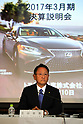 May 10, 2017, Tokyo, Japan - Japan's automobile giant Toyota Motor president Akio Toyoda announces the company's financial result ended March at Toyota's Tokyo office on Wednesday, May 10, 2017. Toyota's group net profit dropped 20 percent to 1.8 trillion yen, declined for the first time in five years.   (Photo by Yoshio Tsunoda/AFLO) LwX -ytd-