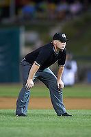 Umpire Matt Bates during a game between the Great Lakes Loons and Kane County Cougars on August 13, 2015 at Fifth Third Bank Ballpark in Geneva, Illinois.  Great Lakes defeated Kane County 7-3.  (Mike Janes/Four Seam Images)