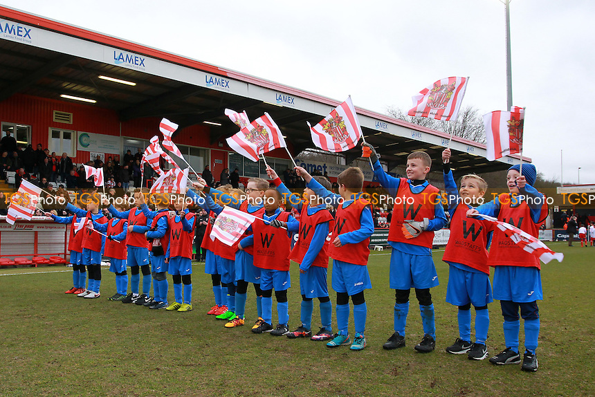 Youngsters form a guard of honour during Stevenage vs Northampton Town, Sky Bet League 2 Football at the Lamex Stadium on 19th March 2016