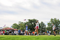 Michelle Wie (USA), Stacy Lewis (USA), and Sandra Gal (DEU)  depart the first tee during Thursday's round 1 of the 2017 KPMG Women's PGA Championship, at Olympia Fields Country Club, Olympia Fields, Illinois. 6/29/2017.<br /> Picture: Golffile | Ken Murray<br /> <br /> <br /> All photo usage must carry mandatory copyright credit (&copy; Golffile | Ken Murray)
