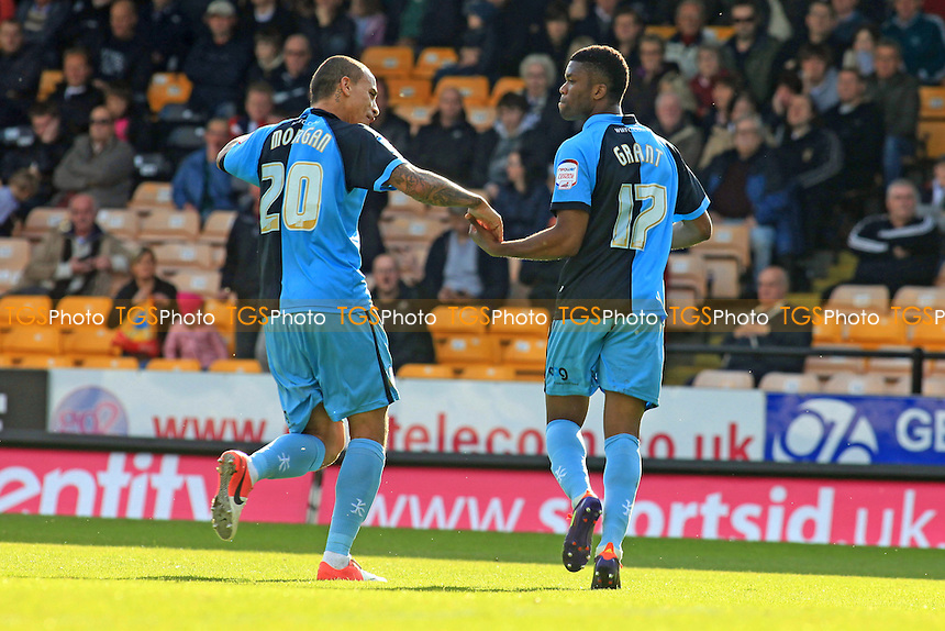 Dean Morgan congratulates Wycombe's Joel Grant after scoring his first half goal from the penalty spot - Port Vale vs Wycombe Wanderers - NPower League Two Football at Vale Park - 20/10/12 - MANDATORY CREDIT: Paul Dennis/TGSPHOTO - Self billing applies where appropriate - 0845 094 6026 - contact@tgsphoto.co.uk - NO UNPAID USE.