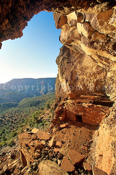 Ancient Indian Cliff Dwelling, pueblo, in Sycamore Canyon Wilderness, Prescott National Forest, Arizona, TomBean_Pix_1944