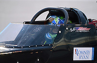 Aug. 31, 2012; Claremont, IN, USA: NHRA top fuel dragster driver Brady Kalivoda during qualifying for the US Nationals at Lucas Oil Raceway. Mandatory Credit: Mark Rebilas-