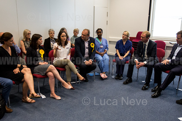 Norbiton (England), 01/06/2017. Today, Tim Farron (Leader of the Liberal Democrats), Nick Clegg (Liberal Democrats politician and Former British Deputy Prime Minister of the Coalition Government 2010-2015 - Conservative Party and Liberal Democrats), Sarah Olney (Former Liberal Democrats Member of Parliament for Richmond Park, she will contest the same seat in the 2017 general election) and Ed Davey (Liberal Democrat politician, former Member of Parliament for Kingston and Surbiton from 1997 to 2015; Former Secretary of State for Energy and Climate Change from 2012 to 2015 in the Conservative-Liberal Democrat coalition Government) visited Kingston Hospital to meet and discuss with representatives of the EU national staff of the hospital which created the &quot;Brexit Support Group&quot;. The discussion was followed by a rally at the Shiraz Mirza Community Hall with members and supporters of the Liberal Democrats. <br /> <br /> For more information please click here: http://www.libdems.org.uk/manifesto<br /> <br /> For more information about the Hospital please click here: https://www.kingstonhospital.nhs.uk/