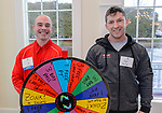 PLANTSVILLE, CT. 30 April 2018-043018BS05 - From left, Joe Gworek of Terryville and Igor Celzner of Bristol pose for a photo in front of their booth The Club in Naugatuck during the annual Chamber's Business Expo and Health & Wellness Fair at the Aqua Turf on Monday evening. Bill Shettle Republican-American