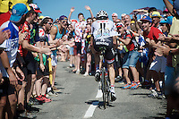 Laurens ten Dam (NLD/Giant-Alpecin) cheered over the last mountain climb of the day; the Col de Peyresourde (1569m/7.1km at 7.8%)<br /> <br /> stage 8: Pau - Bagnères-de-Luchon, 184km<br /> 103rd Tour de France 2016