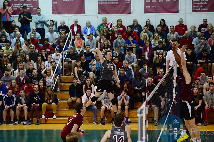 26 Apr 2015:  Stevens Institute of Technology Duck's Tim Ferriter (21)in action during the Division III Men's Volleyball Championship at Canavan Arena in Hoboken, NJ. Stevens Institute defeated Springfield College 3-0 to win the national title.  Porter Binks/NCAA Photos