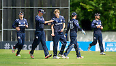 ICC World T20 Qualifier (Warm up match) - Scotland V Namibia at Grange CC, Edinburgh - Scotland bowler Gavin Main (centre) celebrates one of his 2 wickets (for 9 runs) — credit @ICC/Donald MacLeod - 06.7.15 - 07702 319 738 -clanmacleod@btinternet.com - www.donald-macleod.com