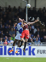 Bristol Rovers' Ellis Harrison battles with Blackburn Rovers' Darragh Lenihan<br /> <br /> Photographer Ashley Crowden/CameraSport<br /> <br /> The EFL Sky Bet League One - Bristol Rovers v Blackburn Rovers - Saturday 14th April 2018 - Memorial Stadium - Bristol<br /> <br /> World Copyright &copy; 2018 CameraSport. All rights reserved. 43 Linden Ave. Countesthorpe. Leicester. England. LE8 5PG - Tel: +44 (0) 116 277 4147 - admin@camerasport.com - www.camerasport.com