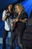 FORT LAUDERDALE FL - SEPTEMBER 27: Jeff Keith and Frank Hannon of Tesla perform at the Parker Playhouse on September 27, 2017 in Fort Lauderdale, Florida. : Credit Larry Marano © 2017