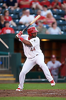 Springfield Cardinals outfielder Anthony Garcia (44) at bat during a game against the Frisco RoughRiders  on June 4, 2015 at Hammons Field in Springfield, Missouri.  Frisco defeated Springfield 8-7.  (Mike Janes/Four Seam Images)