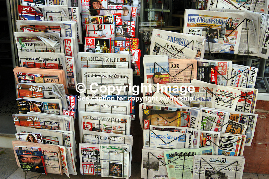 Wide variety of newspapers and magazines on a newsagent's display, Costa del Sol, Spain, demonstrates the equally wide variety of tourists. Ref: 200403050002...Copyright Image from Victor Patterson, 54 Dorchester Park, Belfast, UK, BT9 6RJ..Tel: +44 28 9066 1296.Mob: +44 7802 353836.Voicemail +44 20 8816 7153.Skype: victorpattersonbelfast.Email: victorpatterson@mac.com.Email: victorpatterson@ireland.com (back-up)..IMPORTANT: If you wish to use this image or any other of my images please go to www.victorpatterson.com and click on the Terms & Conditions. Then contact me by email or phone with the reference number(s) of the image(s) concerned.