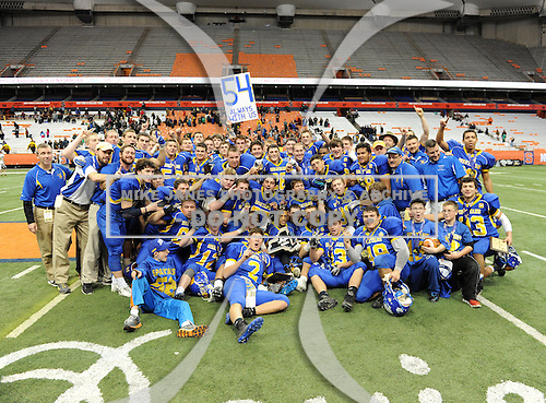 NYSPHSAA Class A Championship game between the Queensbury Spartans and Williamsville North Spartans at the Carrier Dome on November 29, 2013 in Syracuse, New York.  Queensbury defeated Williamsville North 36-7.  (Copyright Mike Janes Photography)